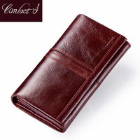 Contact's Fashion Long Women Wallet Genuine Leather Wallets With Phone Pocket Coin Purse Zipper Clutch For Ladies Card Holdes