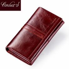 Модный длинный женский кошелек Contacts, бумажники из натуральной кожи с карманом для телефона, кошелек для монет, клатч на молнии для дам, держатель для карт