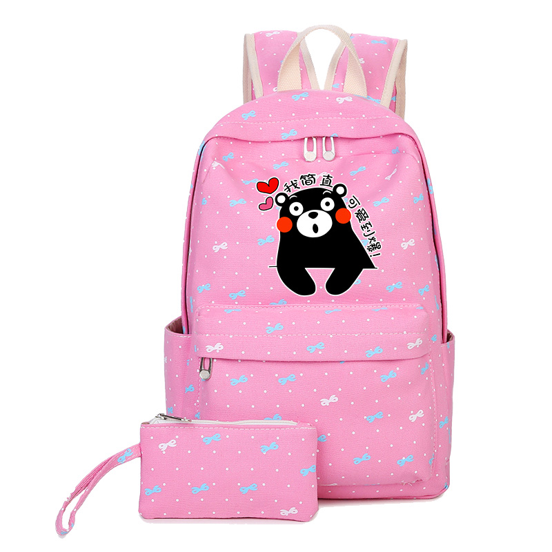 High Quality 2018 Kumamon Printing Backpack Kawaii Women Backpack Pink Travel Bags Canvas School Bags for Teenage Girls new card captor sakura printing backpack kawaii women shoulder bags sakura laptop backpack canvas school bags for teenage girls