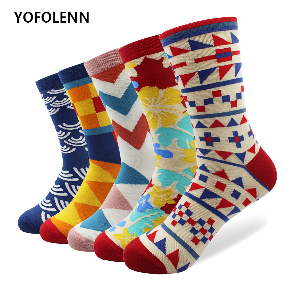 5 pair/lot Mens Bright Colorful Printing Maple Leaf Argyle Long Cotton High Quality Socks party funny happy socks
