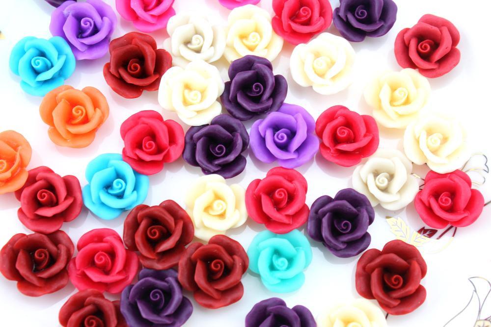 200pcs 20mm Resin handmade rose flower assorted colors Cabochons jewelry bead focal cab Flat Back pendants matt finish