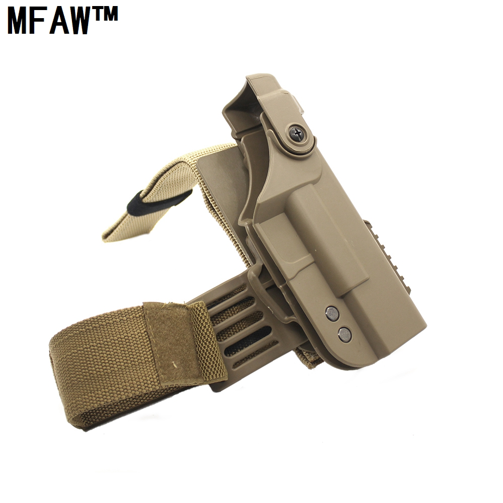 MMFAW Hunting High quality Tactical Military Glock holster Right Drop Leg Thigh Lock Pistol Holster for Glock 17 18 19 22 adjustable quick release plastic tactical puttee thigh leg pistol holster pouch for usp45 black
