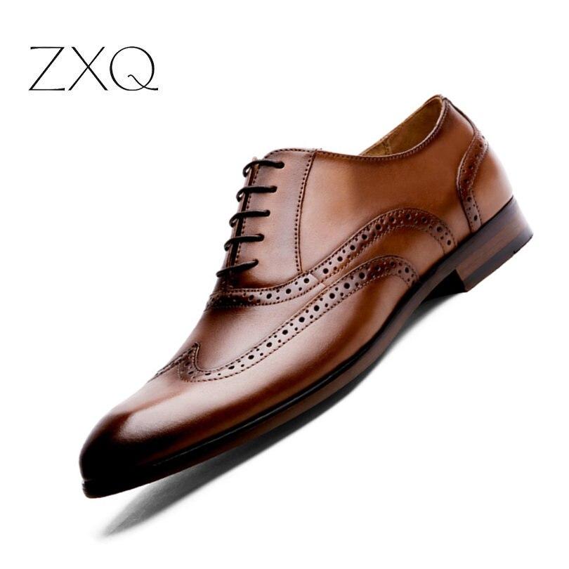 Zapatos de vestir de boda de negocios de oficina hechos a mano marrón de lujo Formal de cuero genuino hombres zapatos tamaño 38 47
