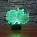 Animal luz 3D Rinoceronte Artesanal Lâmpada de sensor de toque USB Luz Colorida Acrílico Plexiglass LEVOU De Presente De Natal Brinquedos Do Miúdo IY803518