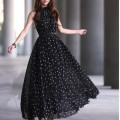 Long Dress Bohemian Maxi Dresses Chiffon Polka Dots Dress Robe Ete 2016 Sundress Boho Vestidos with Belt
