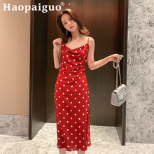 2019 Summer Print Polka Dot Dress Women Spaghetti Strap Midi Dress Women Casual Streetwear Bohemian Red Dress Women Sukienka цена 2017
