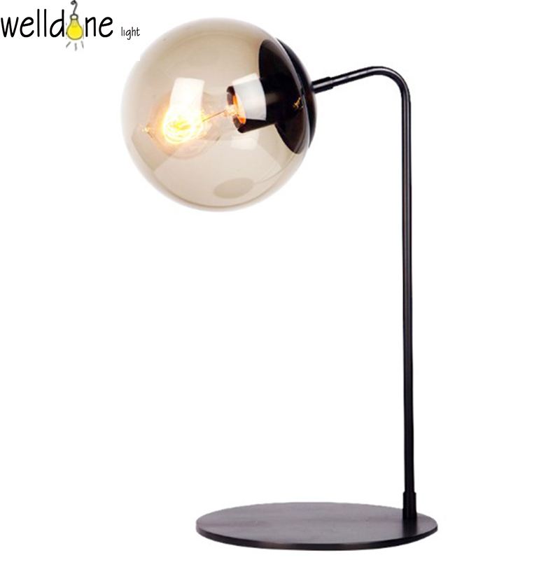 Innovation design office desk lamp indoor glass lamp shade illumination desk iron lamp for room lamp composite structures design safety and innovation