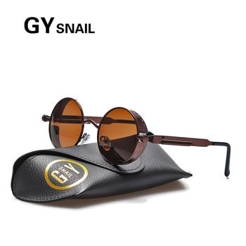 9b871bde5 GY CARACOL Polarizados óculos Steampunk Homens mulheres designer de marca  dos homens do vintage Rodada Óculos de sol para as mulheres óculos de sol  condução ...