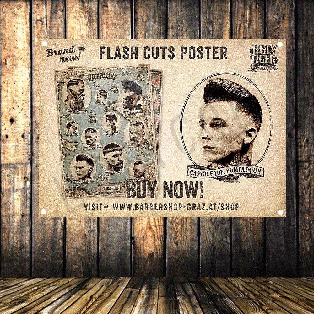 Flash Bezuinigingen Poster Grote Vintage Doek Banner Vlag Tapestry Hd Print Art Vier Gaten Opknoping Schilderen Muurschildering Kapper Muur Decor