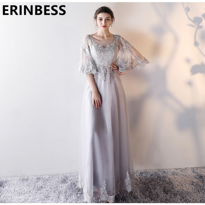 Vintage Vestido De Festa Silver   Prom     Dresses   Scoop Neck Beaded Half Sleeve Long Floor Length   Dress   Special Occasion Party Gowns