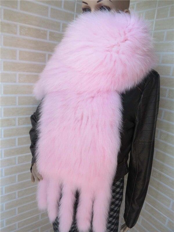 Bufandas de piel de zorro Natural para mujer, bufandas de piel de punto blancas y negras, bufanda cálida para otoño e invierno, S43