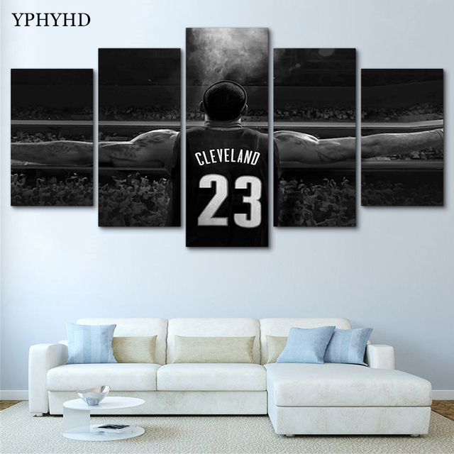 1f8aaf6474e6 YPHYHD Wall Art Modern Painting NBA Lebron James Canvas Painting Print  Poster Decor Room 5 Pieces Modular Wall Paintings Picture