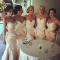 Top Fashion Floor Length Mermaid Bridesmaid Dresses Sexy Sweetheart Off The Shoulder Backless Party Dress
