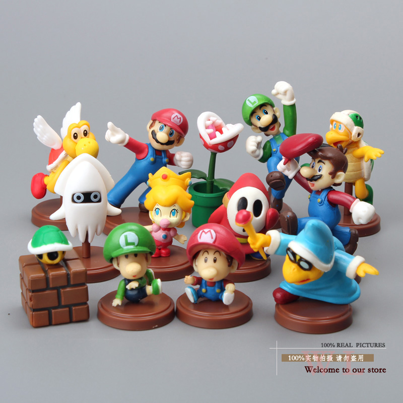 Super Mario Bros Mario Luigi Yoshi Koopalings PVC Action Figure Collection Model Toys Dolls 13pcs/set New in Box 4 Types