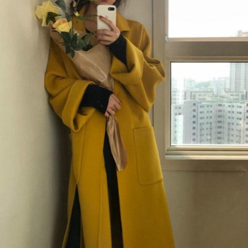 Women yellow Elegant Winter wool Overcoat Long Bandage Woolen Coat Cardigan Loose Plus Size outwear with pocket turn down collar 5