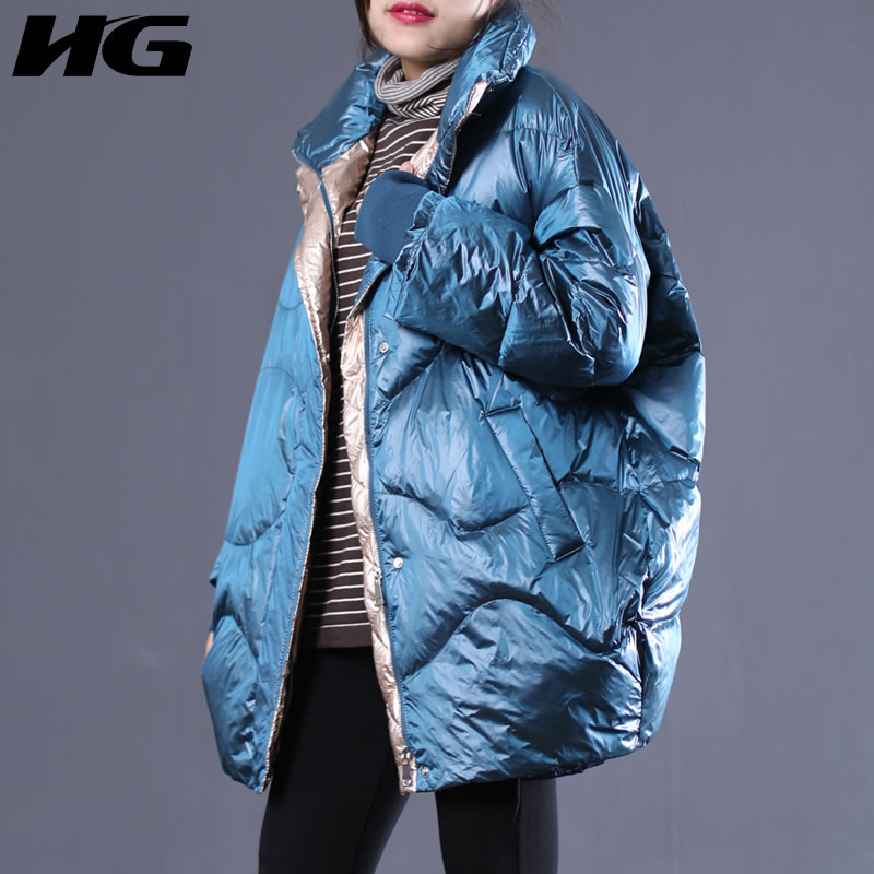 [HG] New Women 2018 Winter Korea Fashion White Duck   Down   Full Sleeve Loose   Coat   Female Solid Color Packet   Down     Coat   LYH2410