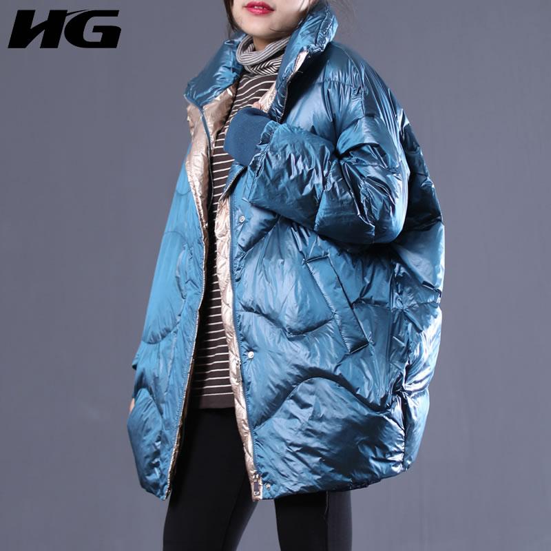 Le Manteau Lâche Lyh2410 Plein Corée Vers Duvet De hg blue Femelle Nouveau Paquet Solide Lyh2410 Canard Bas Manches 2018 Black Couleur Hiver Blanc Femmes Mode wg7xFvqOHx