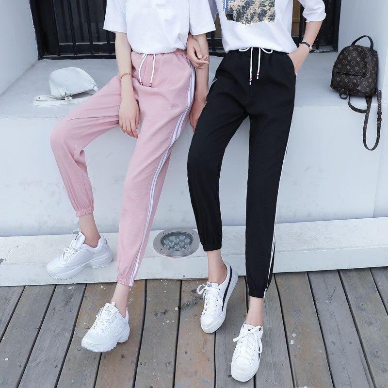 2018 Frauen Hohe Taille Pluderhosen Herbst Elastische Beiläufige Hosen Weibliche Workout Multicolor Striped Sporting Hosen Mode Hosen Schnelle Farbe