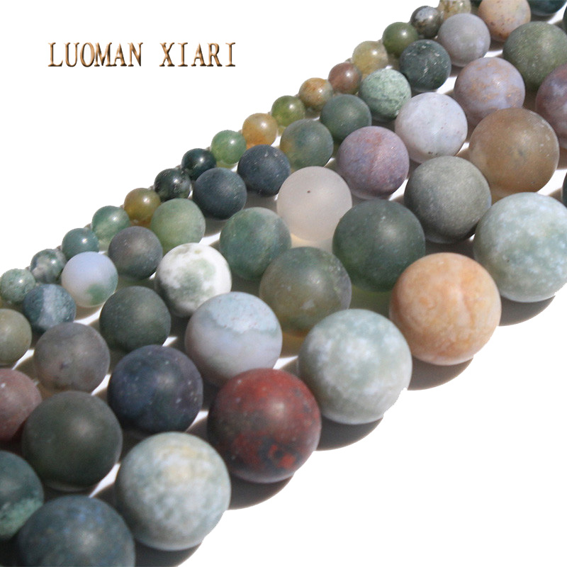 Round Natural Dull Polish India Agate Stone Beads For Jewelry Making DIY Bracelet Necklace Material 4/ 6/8/10/12/mm Strand 15