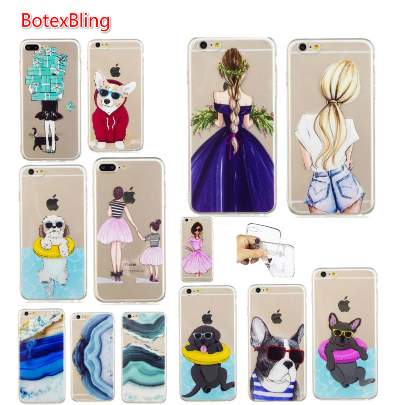 BotexBling Cute transparent pet dog soft TPU silicone <font><b>case</b></font> for <font><b>iphone</b></font> X <font><b>case</b></font> 8 <font><b>8plus</b></font> 7 7plus 6 6s plus 6plus 5 5s se cover girl