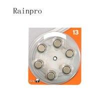 Rainpro 60 pçs/lote (10 PACKS) A13 pr48 1.4 v AG5, L754, A13, PR48, LR48, 393 Aparelhos Auditivos Baterias de célula tipo moeda
