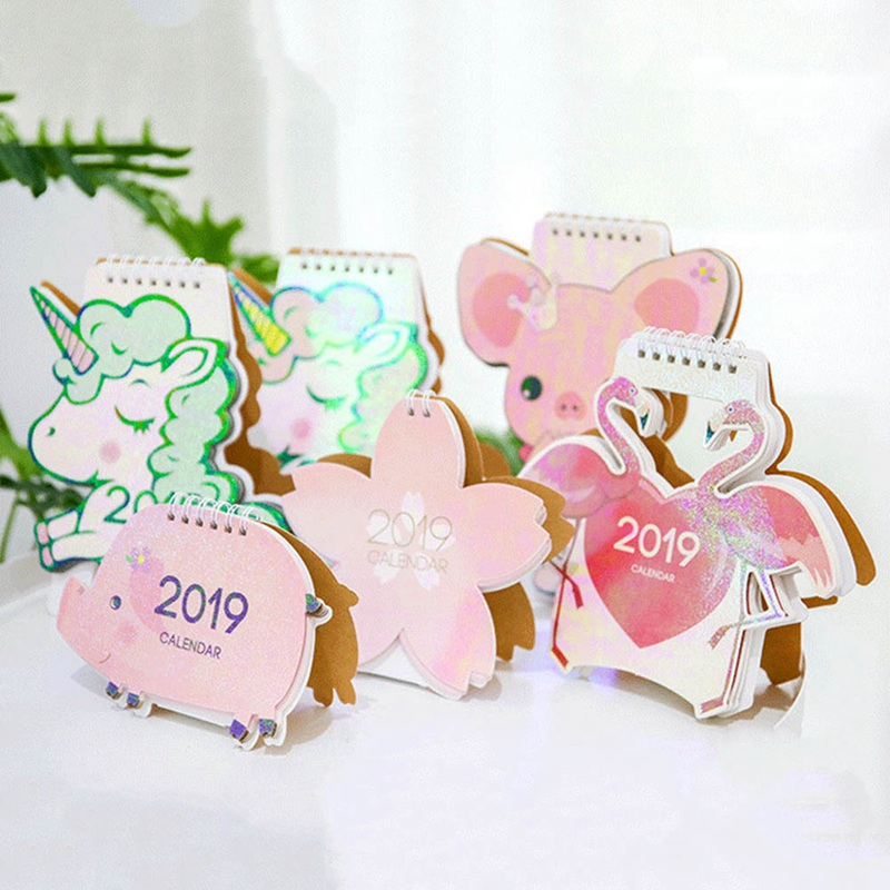 Modest 2019 Cute Unicorn Pig Flower Laser Mini Table Desktop Calendar Agenda Organizer Daily Schedule Planner 2018.10~2019.12 Goods Of Every Description Are Available Calendar Office & School Supplies