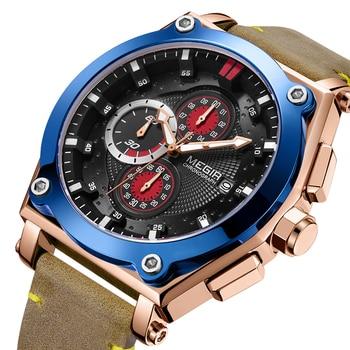 MEGIR Brand Quartz Men Watches Fashion Genuine Leather Chronograph Sports Watch Clock for Gentle Men Male Students Reloj Hombre