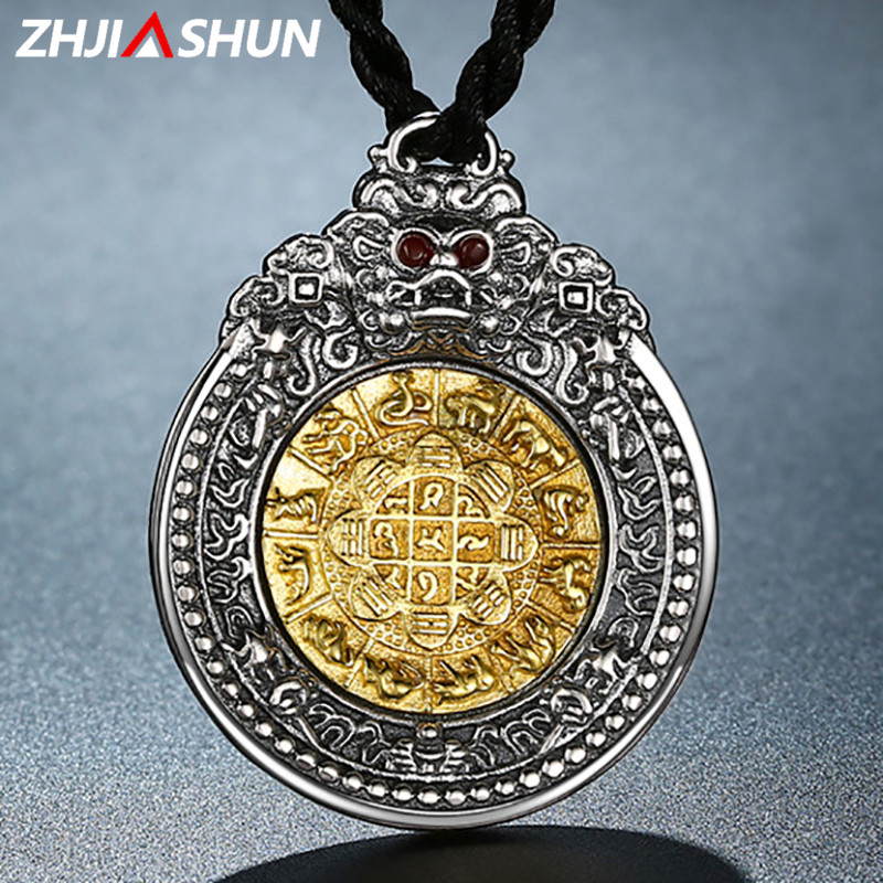 ZHJIASHUN Retro Vajra Pendant Necklaces S925 Sterling Silver necklace for Men Male Thai Silver Jewelries zhjiashun genuine 100