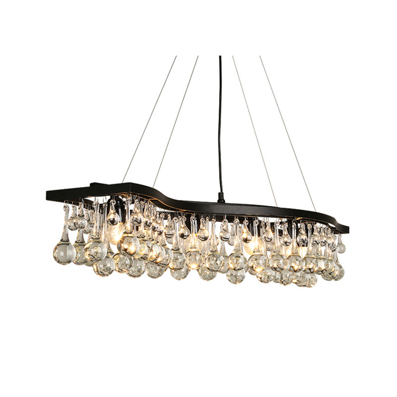 ZX American Retro Crystal Pendant Lamp Rectangle Crystal Ball LED Chandelier for Living Room Restaurant Iron Wave Droplight zx luxury crystal restaurant linear large chandelier retro rectangle lights fixture for european living room hall lamp 110v 240v