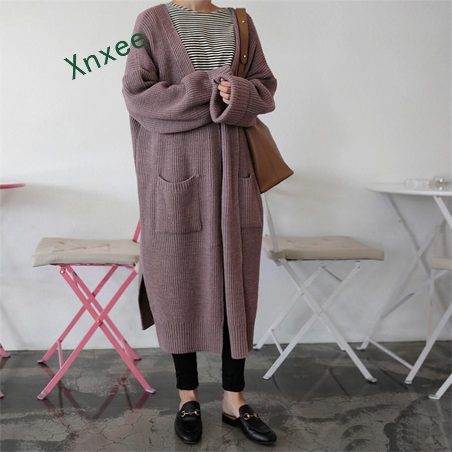 Xnxee Fashion Long Cardigan Women 2019 Fashion Harajuku Loose Knit Sweater Women Casual Black Oversized Jacket Coat Autumn