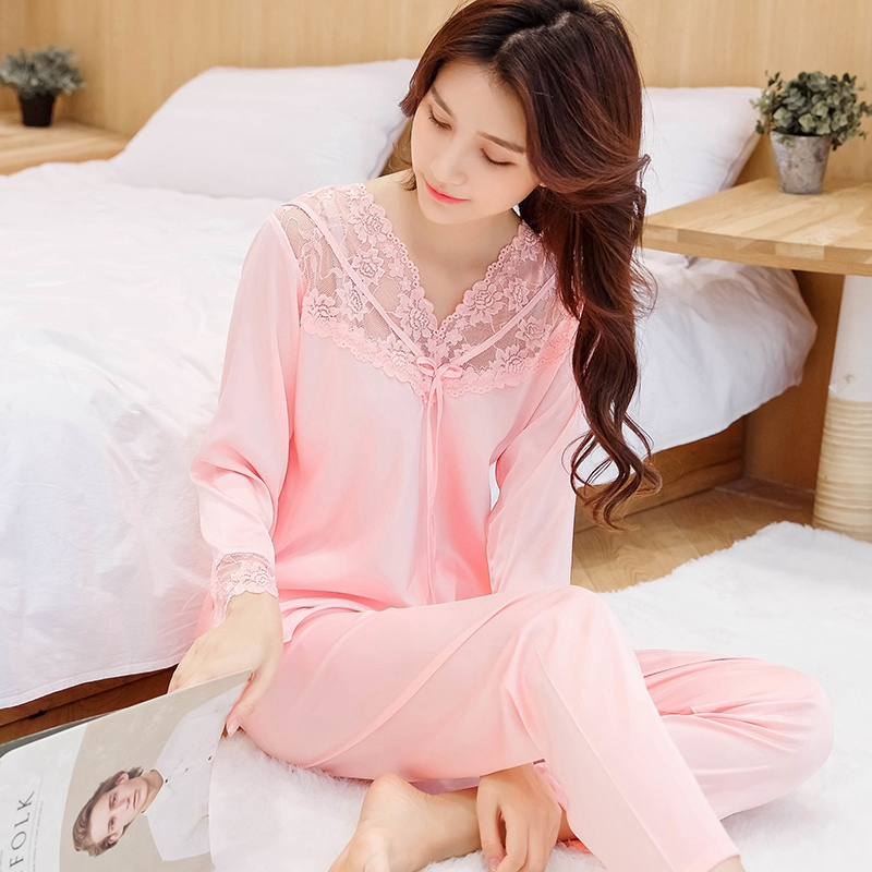 Silk Pajamas Set Sleepwear Loungewear Plus Size Spring Sweet Women Long Sleeve V Neck Lace Pajamas Set
