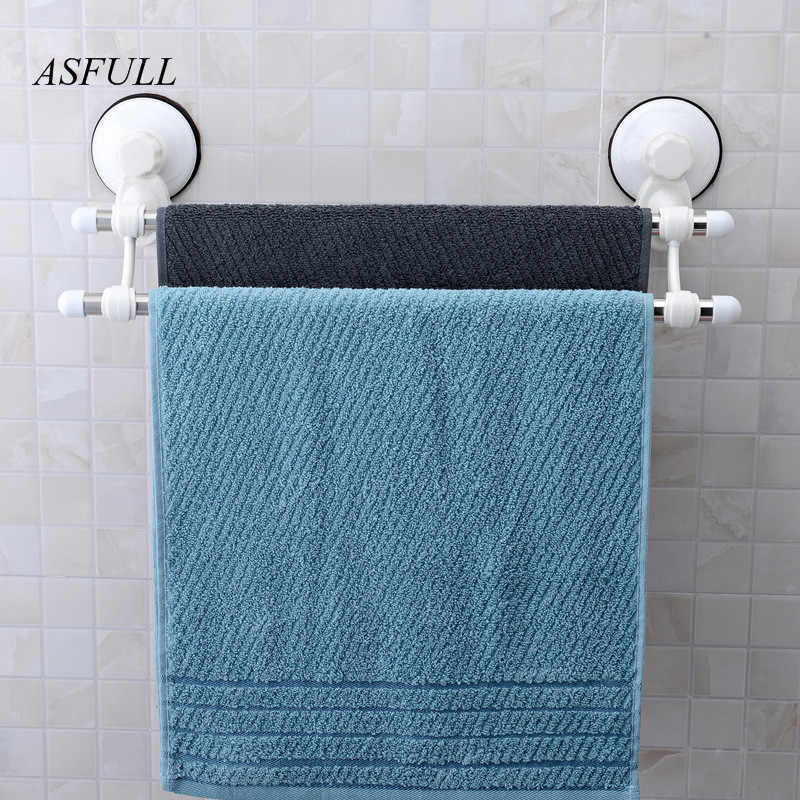ASFULL Suction towel holder plastic towel rack with bar and hooks wall suction cup towel shelf bathroom accessories Kitchen use