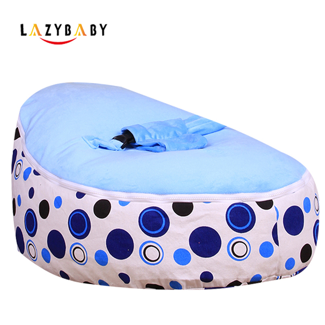 Lazybaby Medium Blue Circle Baby Bean Bag Chair Kids Bed For Sleeping Folding Newborn Seat