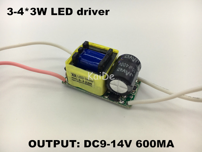 20pcs 10w led driver input ac85-277v output DC9-14V 600MA 3-4x3W led driver Built-in constant current power supply