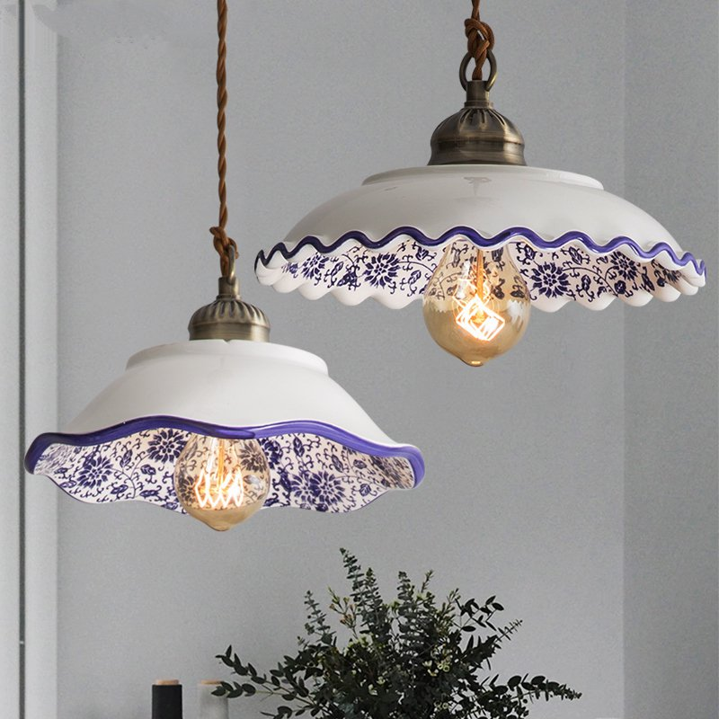 Chinese Style Ceramic Pendant Lights Vintage dining Led Hanging Lamp Retro Loft Porcelain decor living room Hanglamp Luminaire|Pendant Lights| |  - title=