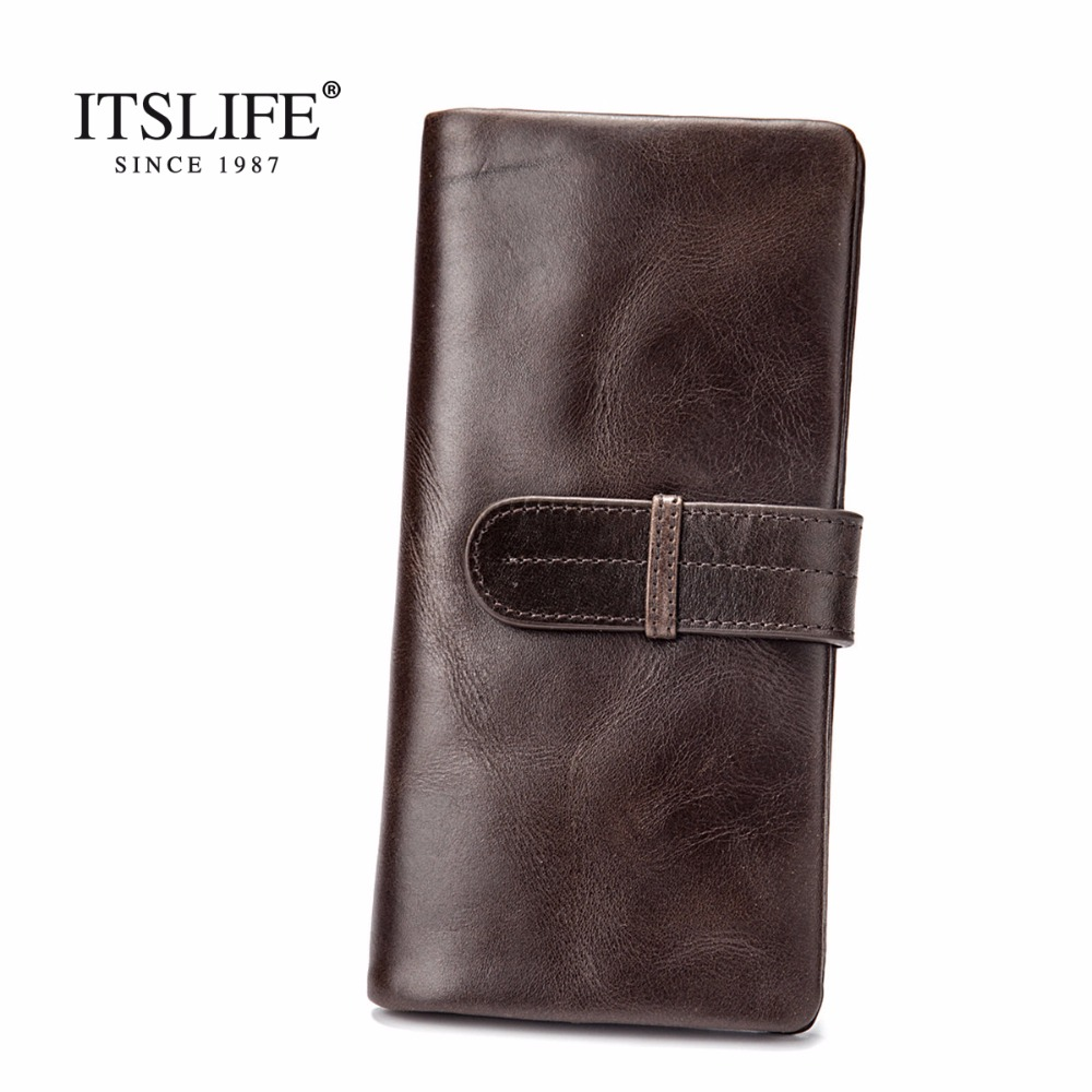 Luxury Brand High Quality 100% Top Genuine Oil Wax Cowhide Leather Men Long Bifold Wallet Purse Vintage Designer Male Carteira bvp luxury brand weave plain top grain cowhide leather designer daily men long wallets purse money organizer j50
