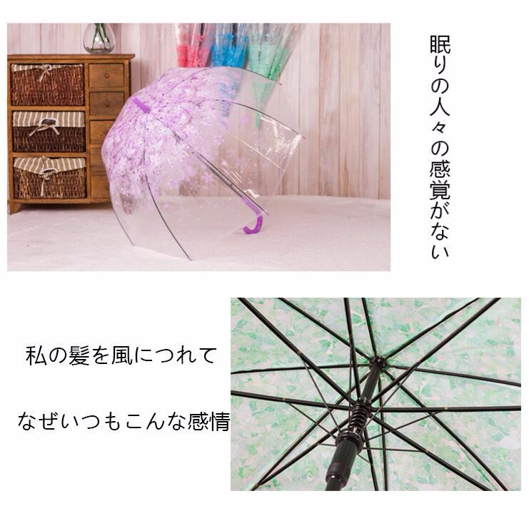 114b3114b85 ... New Fashion Transparent Clear Umbrella Cherry Blossom Mushroom Apollo  Princess Women Rain Umbrella Sakura Long Handle ...