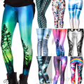 2016 Top Quality Women Galaxy Adventure Time  Rainbow Cloud Black Green Mermaid Printed Leggings Black Milk Leggins Summer