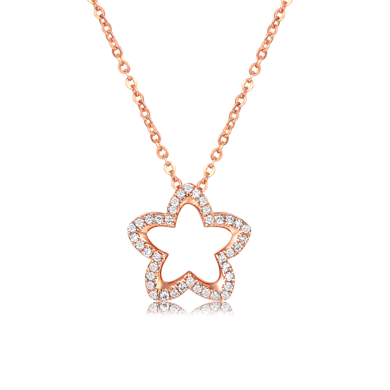 Rose Gold Color Necklace Pendant for Lady Genuine 925 Sterling Silver Jewelry Shiny CZ Necklace Hot Woman Korea Pendant Gift ying vahine 925 sterling silver jewelry shiny stars pendant necklace