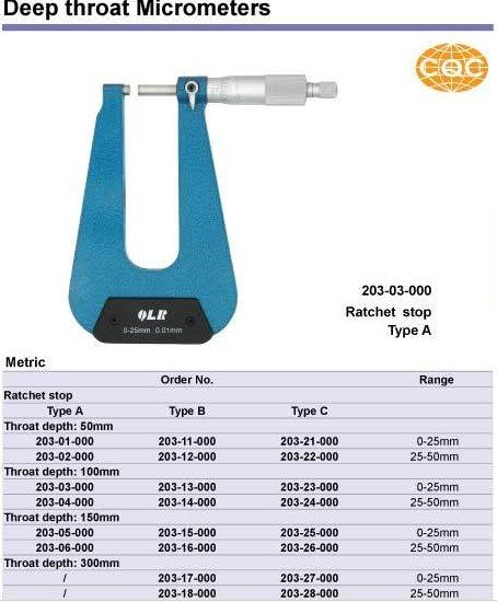 Deep throat Micrometers .Type B 0-25*50mm.0-1inch.Quality goods.203-11-000  цены