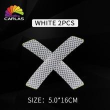 2 PCS / Set Of Car-Shaped Motorcycle Reflective Strip Sticker Warning Tape Car Bumper Shape