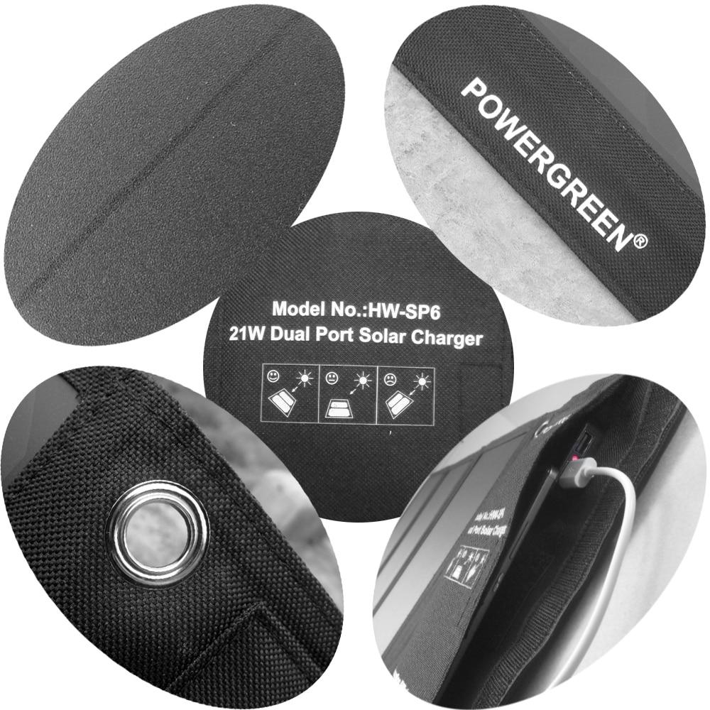PowerGreen fällbar 21W soluppladdare, 2-port USB-laddare Solpanel - Reservdelar och tillbehör för mobiltelefoner - Foto 3