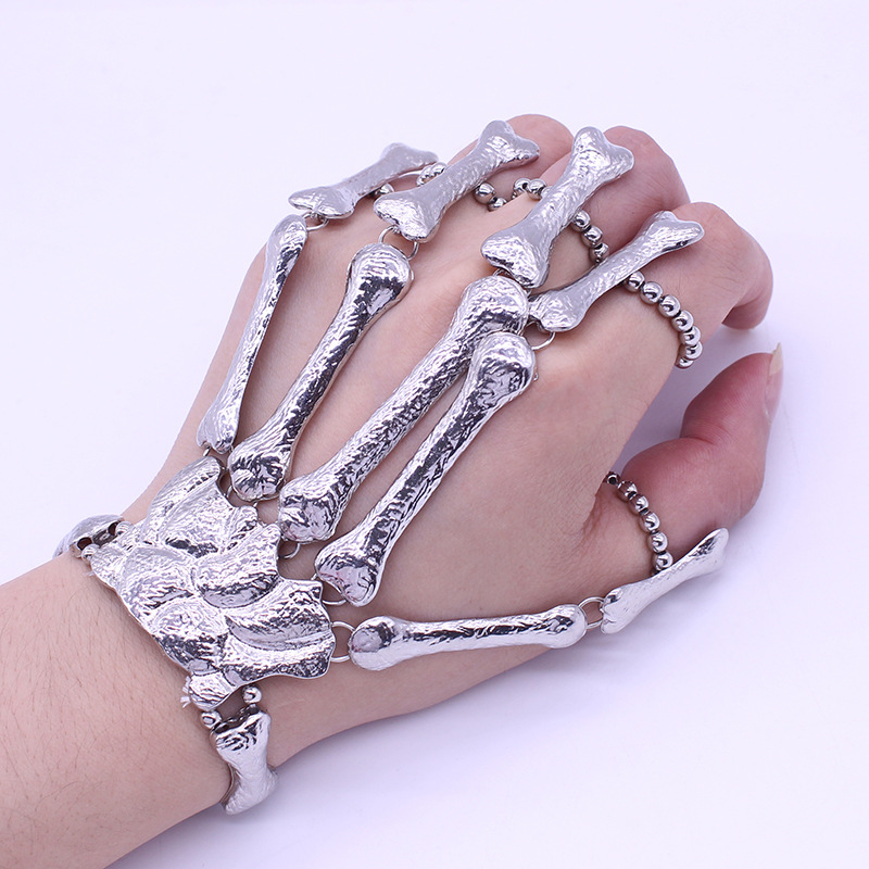 2019 Punk Gothic Skull Armbånd Hand Bone Bangles For Women Men Nightclub Party Hip Hop Sølvsmykker Fleksible metallarmbånd