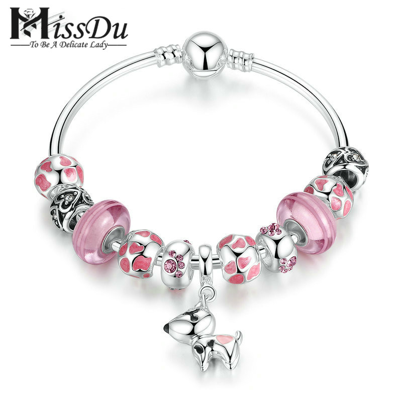 Missdu New Arrival Silver Color Lovely Dog Pendant Pink European Glass Beads Charm Bracelets & Bangles Jewelry Pa3810 Soft And Light