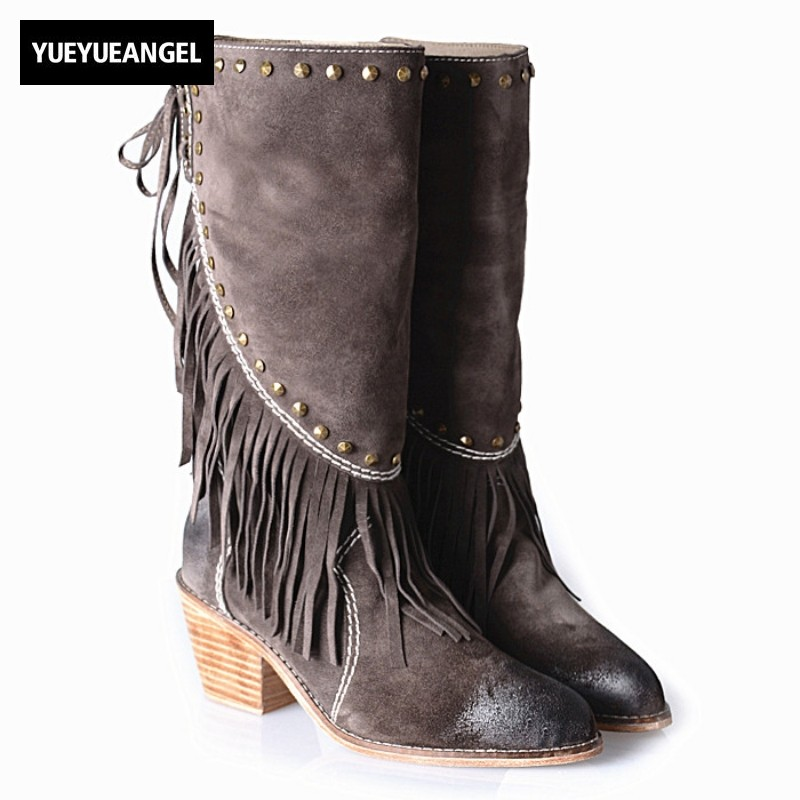 Genuine Leather Pointed Toe Lace Up Fringe Women Boots Sapatos Femininos Fashion Winter Warm Rivet High Thick Heels Half Boots full grain leather thick warm flame patchwork lady winter fashion boots pointed toe genuine leather high heels shoes 1109
