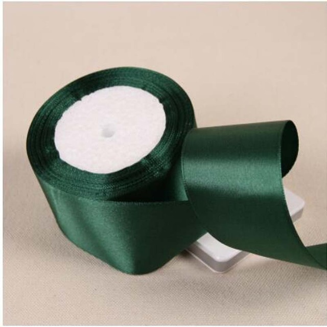 25yards Roll Dark Green Silk Satin Ribbon Wedding Party Decoration Gift Wring Christmas New