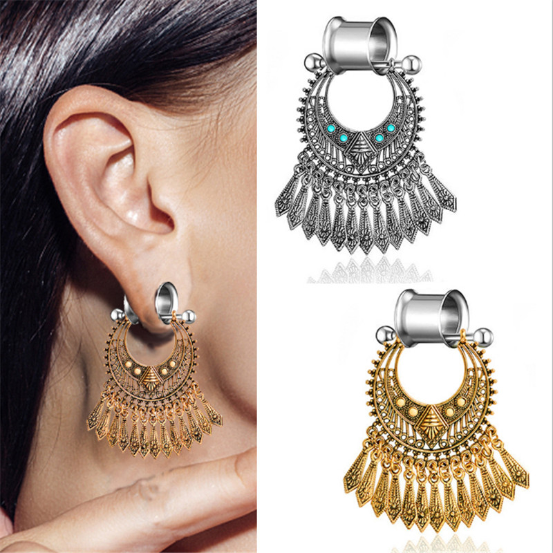 2PCS Stainless Steel Bohemia Tassel Natural stone Ear Plugs And Tunnels Flesh Expansions Piercing Ear Tunnel Gauges Body Jewelry