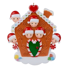 Personalized Christmas Gingerbread House Family of 6 For Holiday Home Decor, keepsakes, party