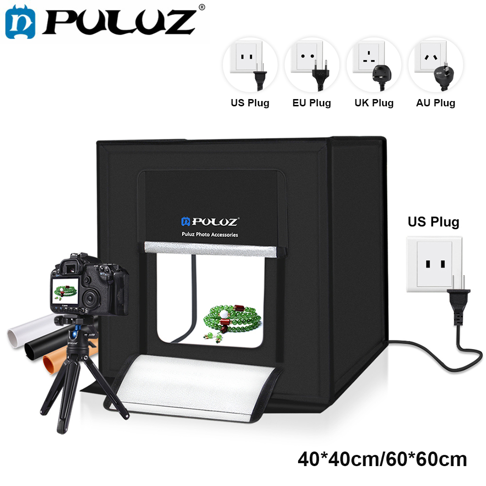 PULUZ 60*60cm/40*40cm Photography Studio Box AU/UK/US/EU Plug Mini Studio Photo Box Softbox With Light Photography AccessoriesPULUZ 60*60cm/40*40cm Photography Studio Box AU/UK/US/EU Plug Mini Studio Photo Box Softbox With Light Photography Accessories