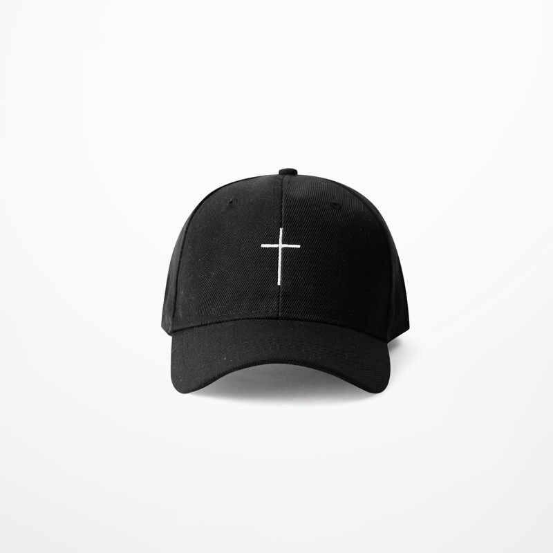 Simple Cross Embroidery Baseball Cap Black White Harajuku 2017 Men Women  Summer Fashion Dad Caps Bent d28cdd99bf1f